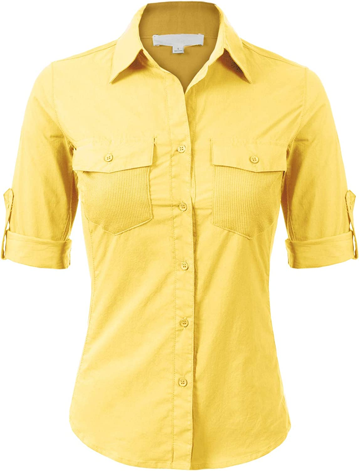 Design by Olivia Women's Solid Cotton Voile Ribbed Pocket and Side Button-Down Shirt: Clothing
