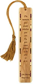 product image for Peter Pan Quote - J.M. Barrie Engraved Wooden Bookmark with Tassel - Search B071RKP2RC for Personalized Version