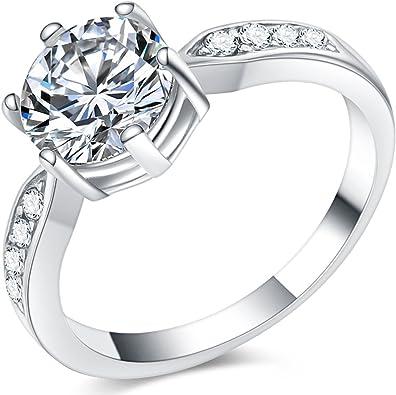 Amazon.com: Jude Jewelers - Anillo solitario de compromiso ...