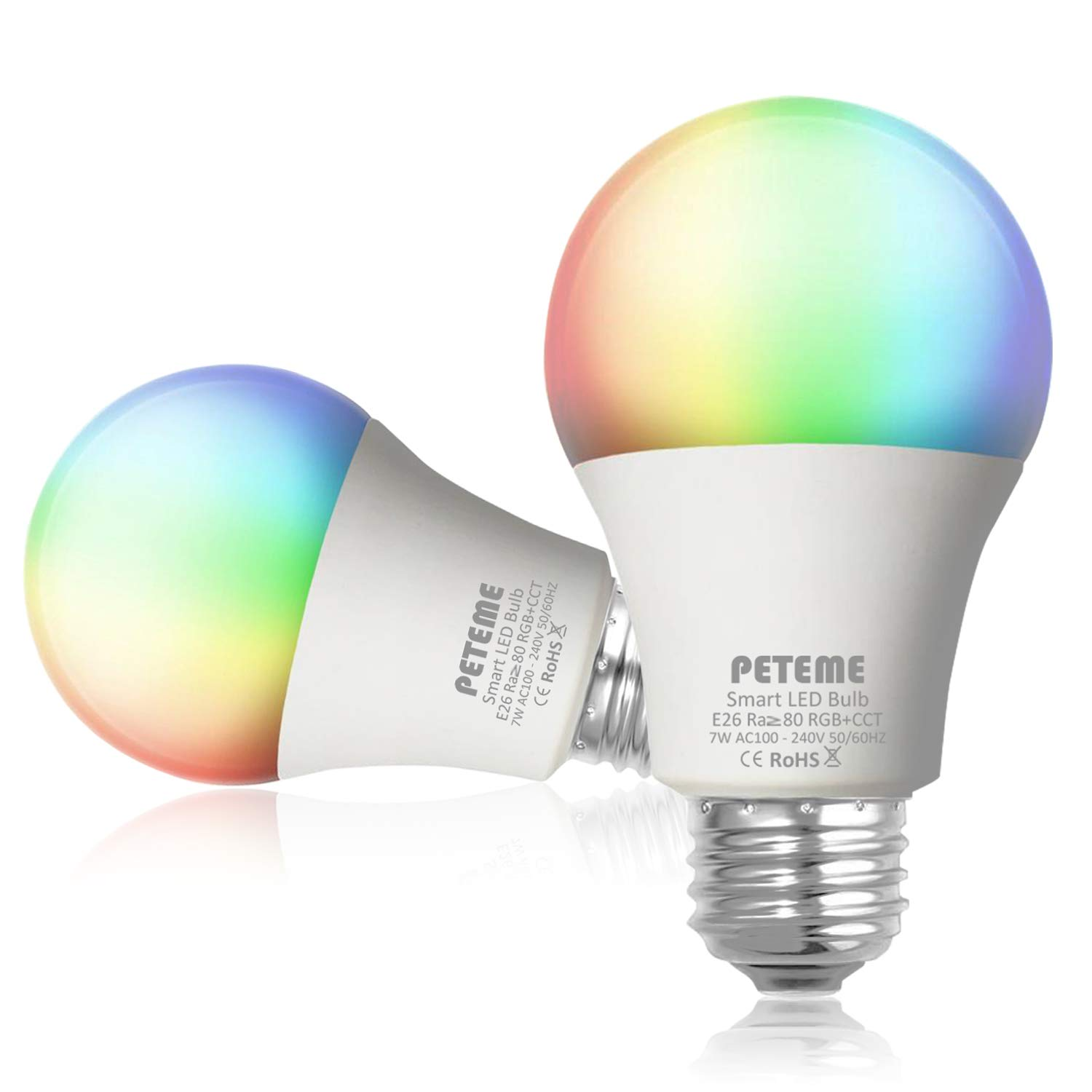 Smart LED Light Bulb E26 WiFi Multicolor Light Bulb Work with Siri,Alexa, Echo, Google Home and IFTTT (No Hub Required), Peteme A19 60W Equivalent RGB Color Changing Bulb (2 Pack)