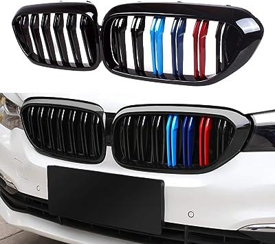Para BMW F10 F11 2011-2016 Negro Brillante M Estilo Rojo Metálico 520i 550i Parrilla Delantera