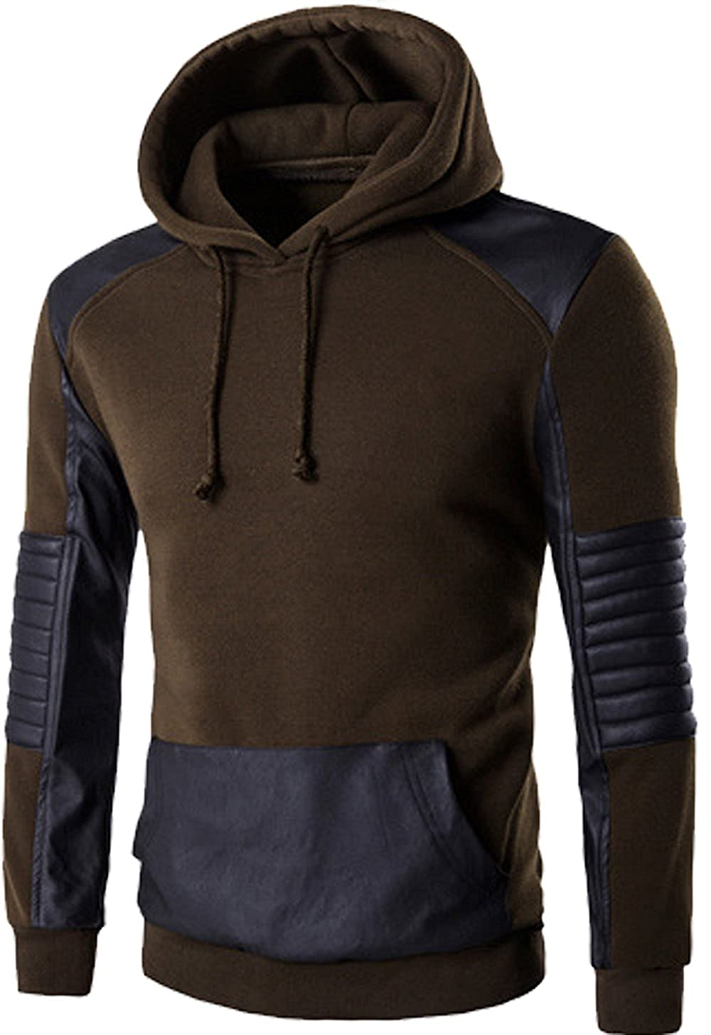 SWORLD Mens Hip Hop Color Block Color Stitching Drawstring Hooded Pullover Sweatshirts