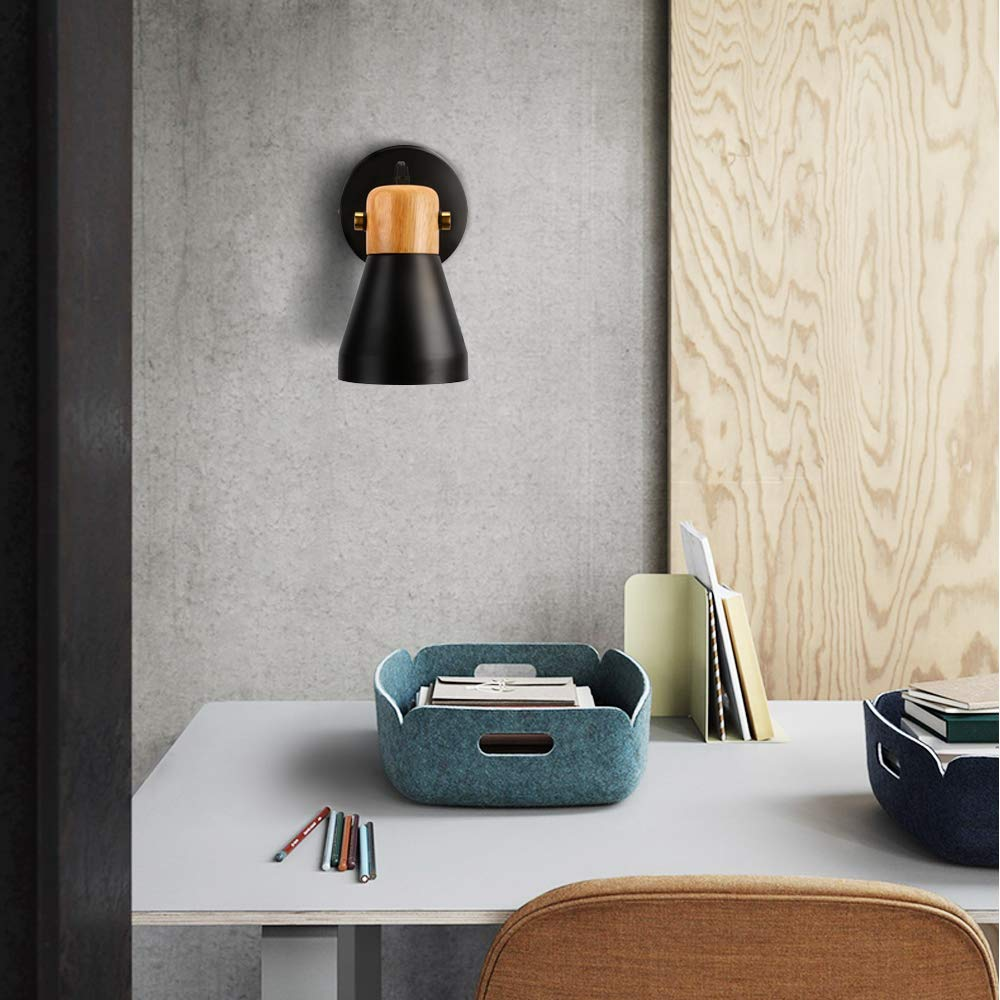 Qucover Plug in Wall Lights Modern Nordic Style Metal Black Wood Wall Lamp with Switch//Simple Indoor Wall Lighting 120 Degree Adjustable Head Reading Light fit for Bedroom Bedside,Euro-Plug E27