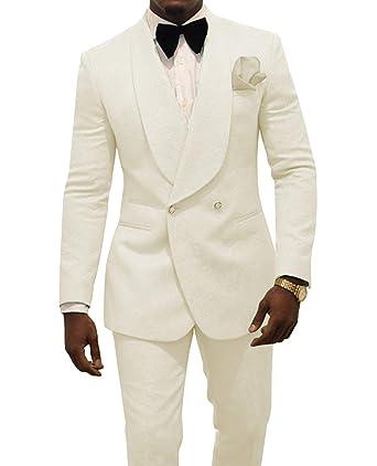 3076b9bd3b10c Mens Suit 2 Pieces Jacquard Shawl Lapel Fashion Slim Fit Tuxedos Groomsmen  for Wedding(Blazer