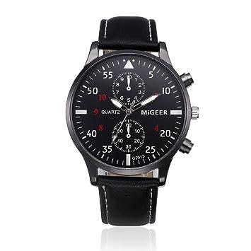 ❤ Amlaiworld Reloje Mujer reloj deportivo baratos Reloj de pulsera de cuarzo analógico de aleación de cuero de diseño retro para hombre (Negro): ...