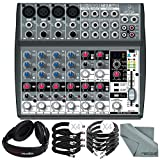 Behringer XENYX 1202FX 12 Channel Audio Mixer w/ Effects Processor and Bundle w/ Headphones + Cables + Fibertique Cloth