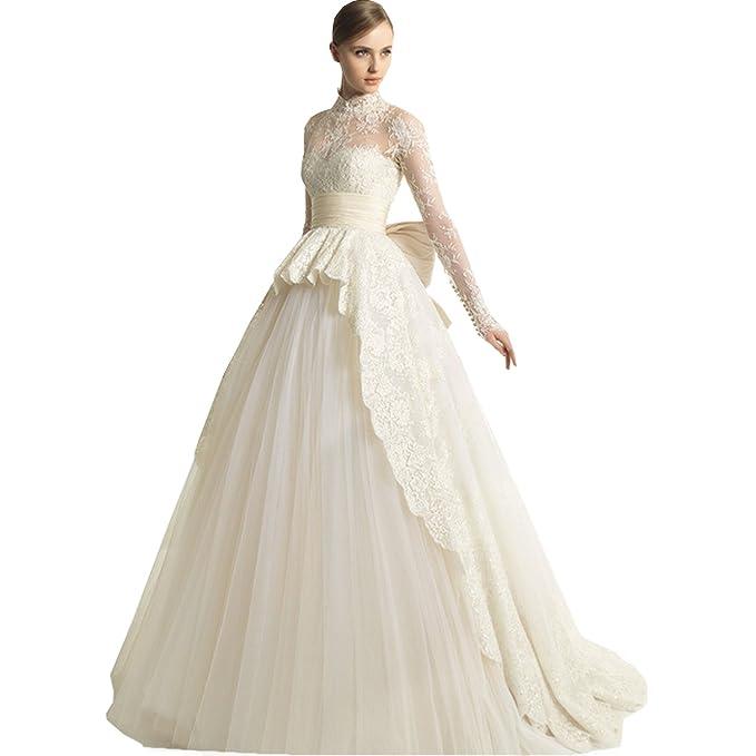 dressvip marfil cuello alto manga larga lazo cinturn Red de encaje vestido vestidos de novia para