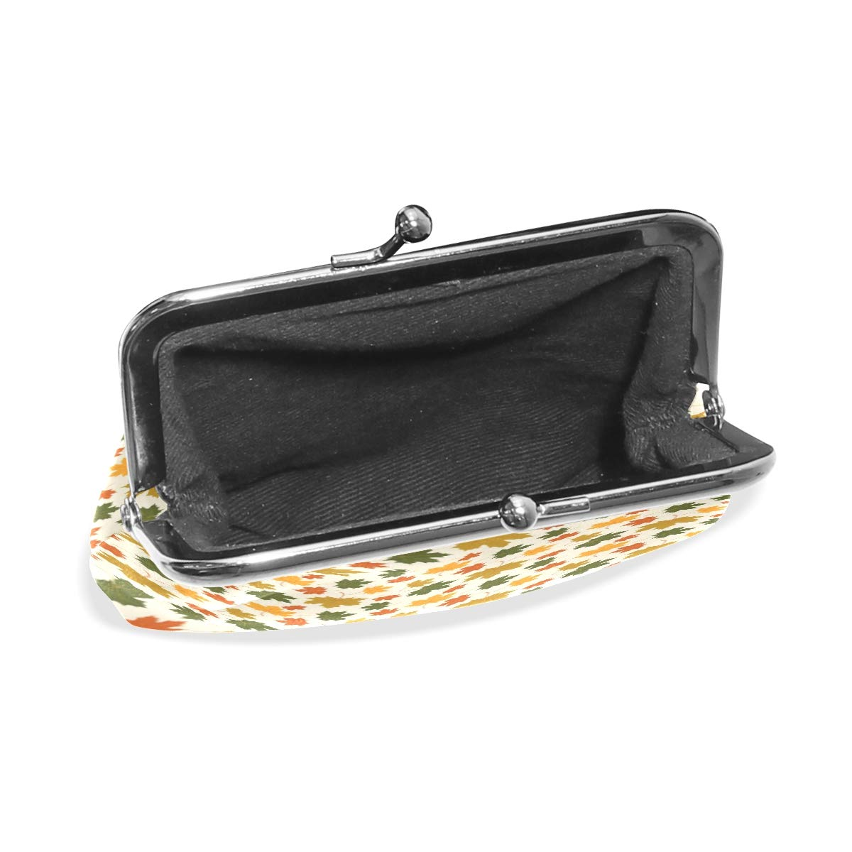 Exquisite Buckle Coin Purses Seamless Pattern With Autumn Maple Leaf Mini Wallet Key Card Holder Purse for Women