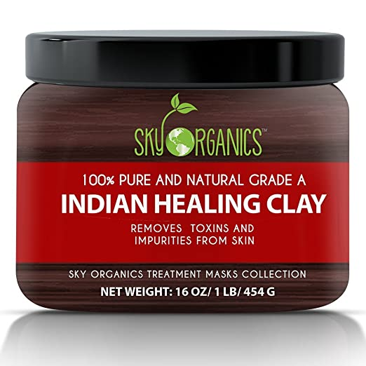 Indian Healing Clay By Sky Organics 16oz -100% Pure & Natural Bentonite Clay-Therapeutic Grade - Face Skin Care, Deep Skin Pore Cleansing, Detoxifying- Helps with Acne & Rejuvenating Skin- Made in USA