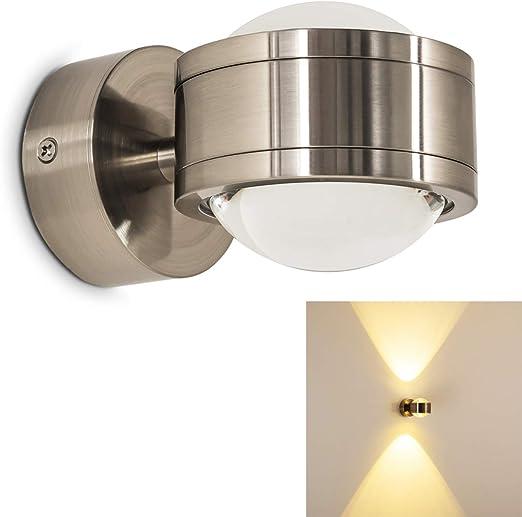 Aplique de pared interior LED Indore - IP44 Aplique exterior LED jardín - Versiones diferentes disponibles - Aplique escaleras cocina salón restaurante: Amazon.es: Iluminación
