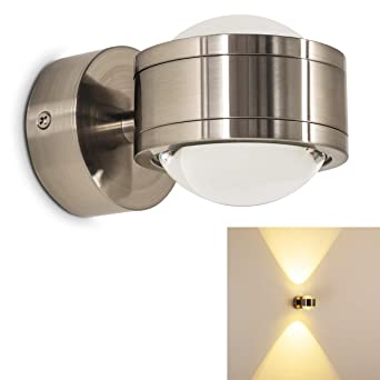 Sehr LED Indoor Wandlampe in nickel-matt - schlichter Wandspot IP44 PJ21