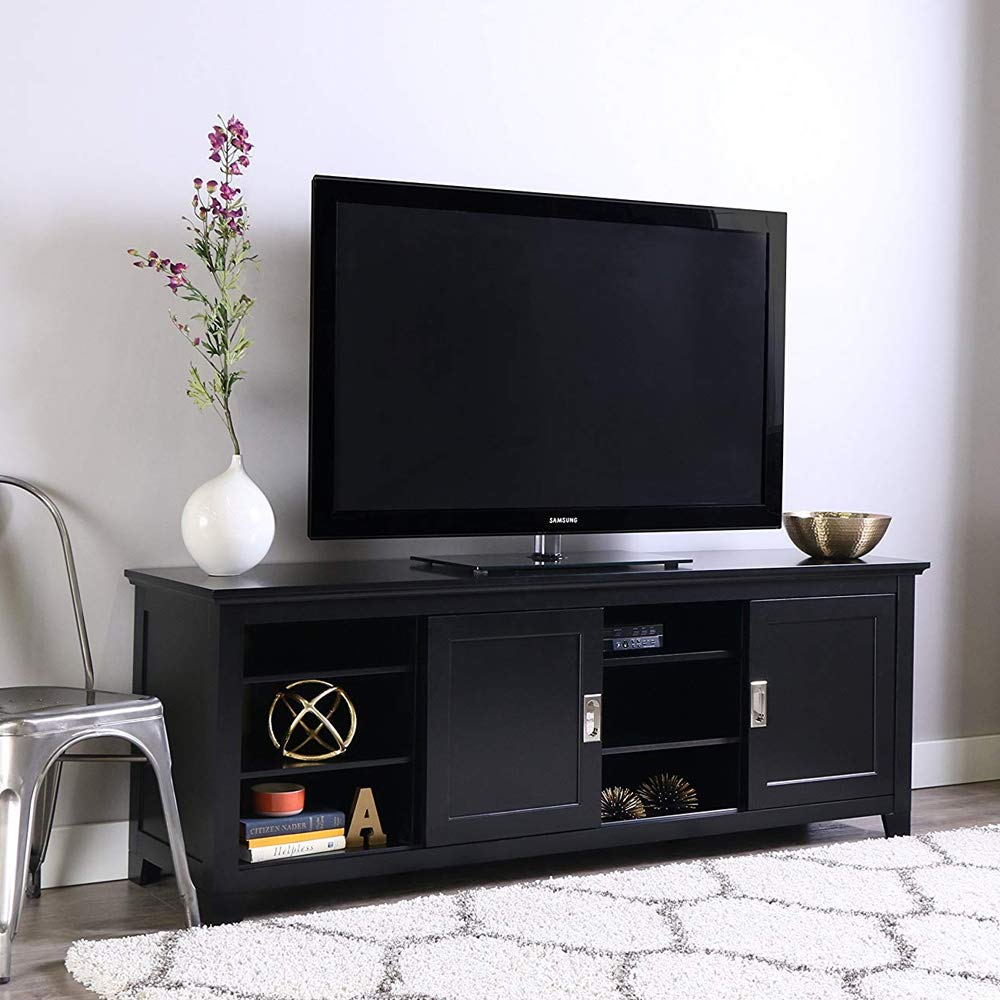 K&A Company 70 Inch Wood TV Stand, 52'' x 32'' x 20'' x 52 lbs, Black