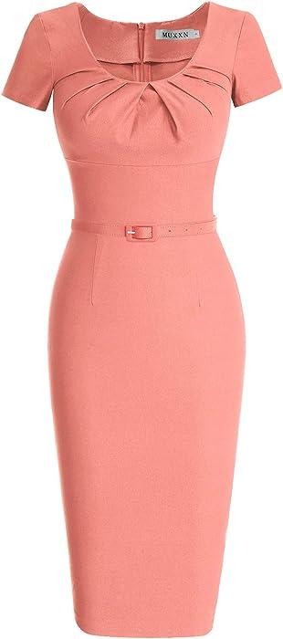 2f6bde6faf601 MUXXN Women s 1950s Vintage Short Sleeve Pleated Pencil Dress ...