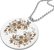 Leaves Pisces Female Clothing Round Ornaments Necklace Porcelain Printing Pendant Design