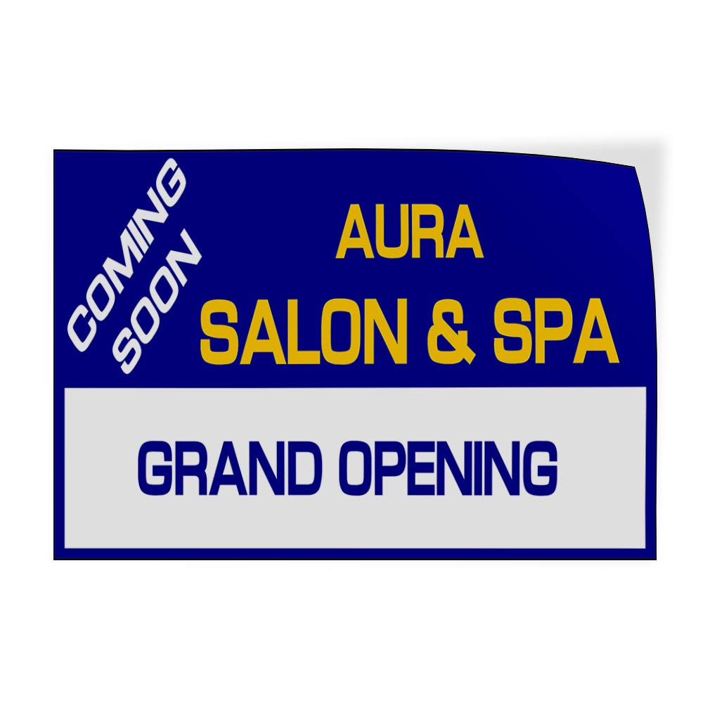 Custom Door Decals Vinyl Stickers Multiple Sizes Name Salon and Spa Grand Opening Blue Business Coming Soon Outdoor Luggage /& Bumper Stickers for Cars Blue 40X26Inches Set of 5