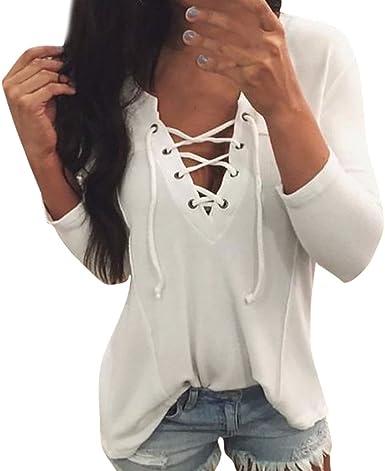 Camisas Mujer Verano Manga Larga Blanca De Vestir, BuyO Casual De Manga Larga para Mujer Criss Cross Front Camiseta con Cuello En V Blusa Tops: Amazon.es: Ropa y accesorios