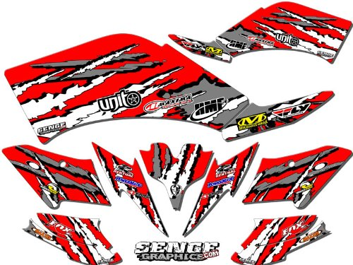 Body Graphic Kit - Senge Graphics kit compatible with Yamaha 2013-2019 Raptor 700, Shredder Red Graphics Kit