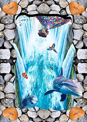 Waterfall Dolphin (Tang Jie 5x7FT UP Waterfall Photography Baby Shower Backdrops Photo Studio Prop Booth Dolphin Background Party Decoration Supplies Vinyl tj018)