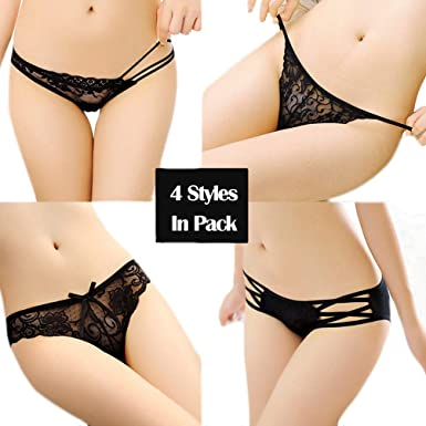 5720889ef2d Women s Sexy Massage Pearl Thong Lace Crotchless Panties T-Back Lingerie  for Ladies Girls (