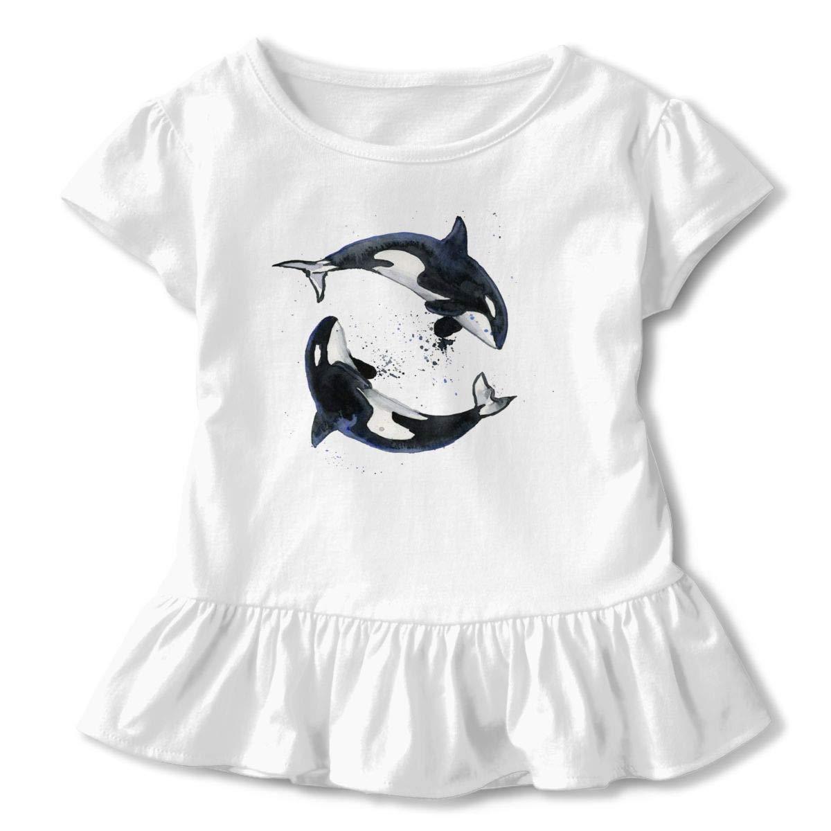 Clarissa Bertha Splashing Pattern Orca Whale Toddler Baby Girls Short Sleeve Ruffle T-Shirt