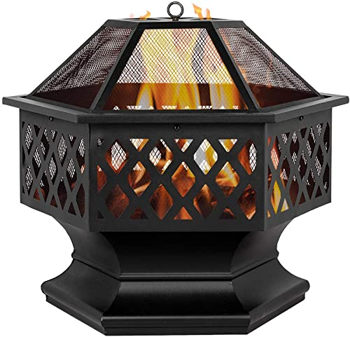 Mytunes 22″/24″ Patio Fire Pits,Outdoor Stove Wood Burning Square Table Backyard Garden Heater/BBQ/Ice Fire Pit Set 24″
