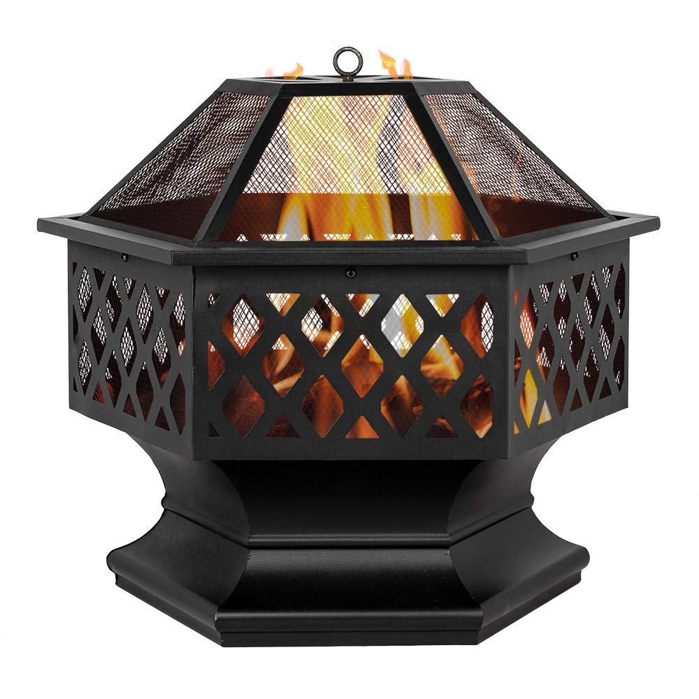 Chocity 24'' Hexagonal Shaped Iron Brazier Wood Burning Fire Pit Decoration for Backyard Poolside by Chocity