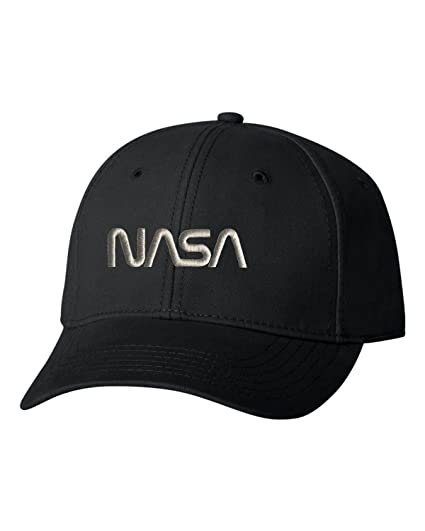99dd4462 Go All Out Adjustable Black Adult NASA Worm Logo Embroidered Dad Hat  Structured Cap