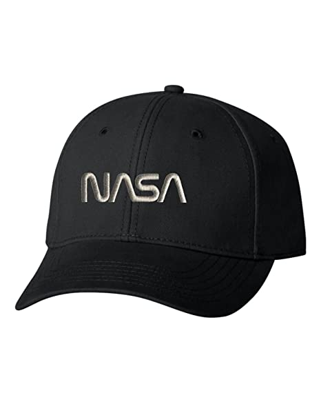 81db17f468a Go All Out Adjustable Black Adult NASA Worm Logo Embroidered Dad Hat  Structured Cap
