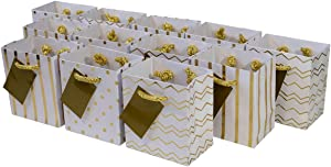 "4x2.75x4.5"" 12 Pcs. Extra Small Metallic Gold Paper Gift Bags with Handles, Birthday Party Favor Bags, Chevron Polka Dot Chevron Polka Dot Stripe Patterns"