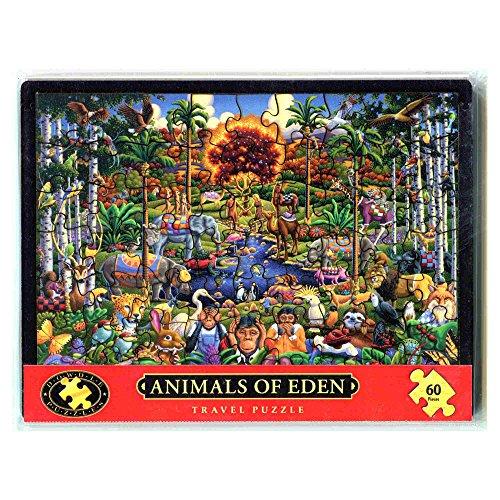 Dowdle Folk Art Wood Travel Jigsaw Puzzle - Animals of Eden (60 Piece) -