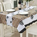 ColorBird Country Style Floral Flannel Backed PVC Tablecloth Easy Care Oilproof Table Cover for Kitchen Dinning Tabletop Decor (Rectangle/Oblong, 54''*70'', Camel/White)