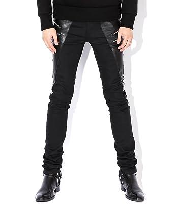 23f45f5cec6 Saint Laurent Men's Leather Panel Zipper Detailed Skinny Jeans 28 Black