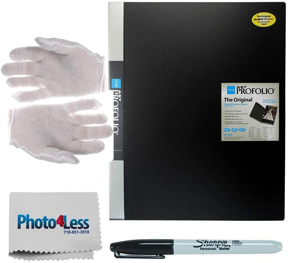 Itoya Art Profolio Original Storage Display Book Black 11 x 14 Lintless Cotton White Gloves + Photo4Less Cleaning Cloth + Sharpie Fine Point Permanent Marker Large, Pair 24 Pages for 48 Views