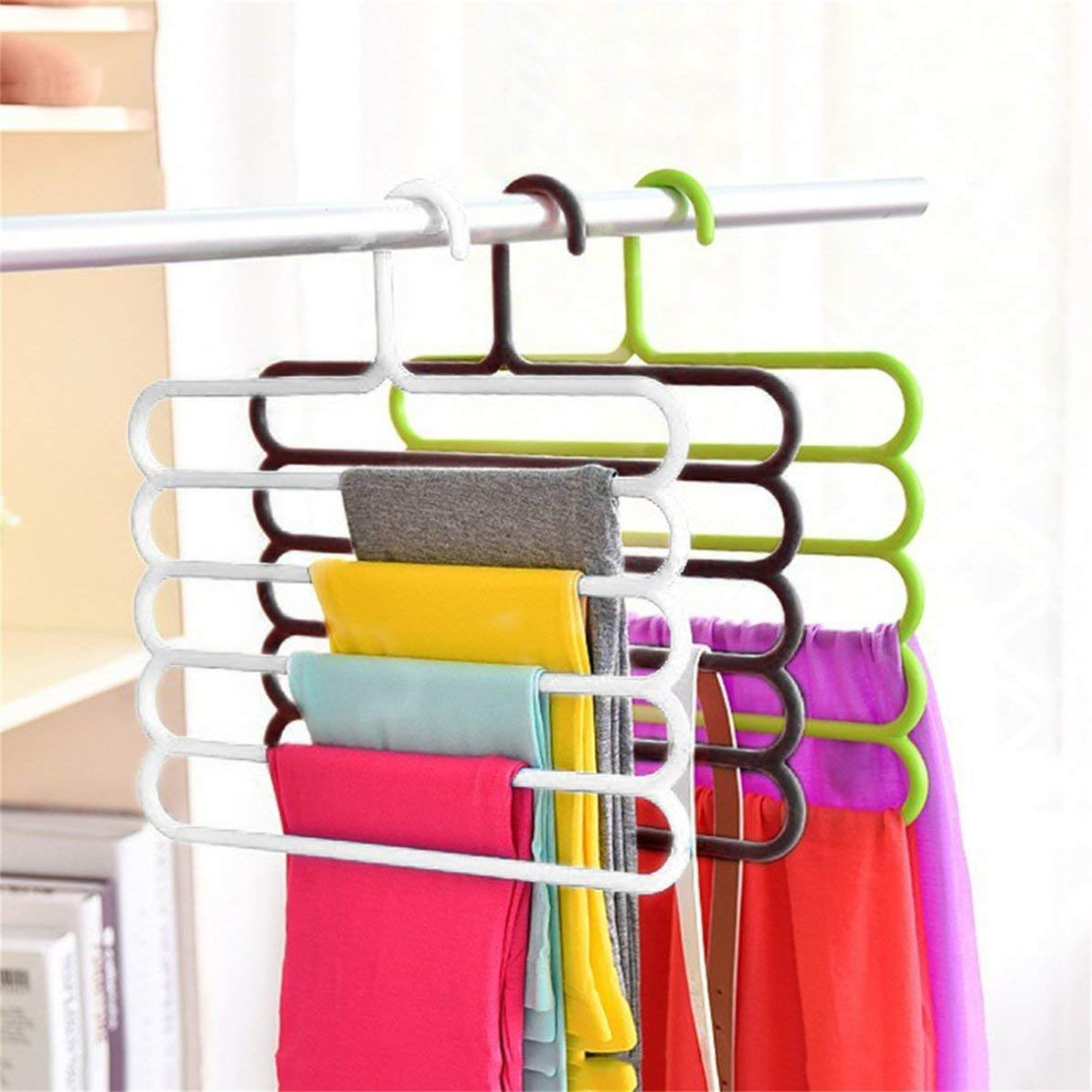 WEIWEITOE Anti-slip Magic Multiple Layer Trousers Hanger Multifunction Pants Closet Belt Holder Rack S-type 5 Layers Saving Space,Bronze,