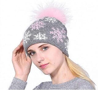 ColorJoy Beanie Hat Beanie cap Winter Berretti da Donna Cappelli Caldi a Maglia con Palla di Pelo