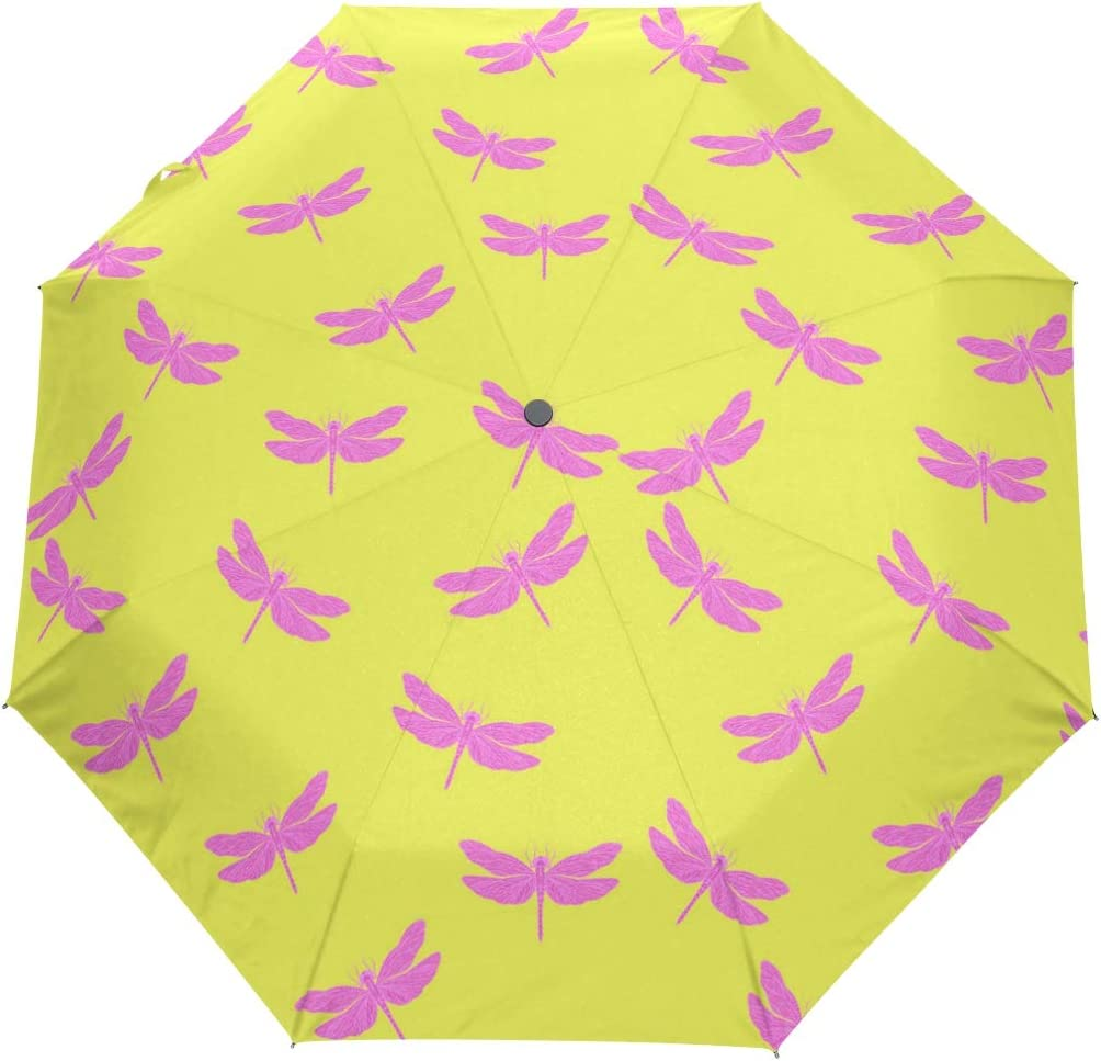 Dragonfly Yellow Stuff Salt fashion print cute Windproof automatic tri-fold umbrella sun UV protection Sun umbrella