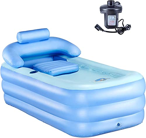Atemou Inflatable Tub PVC Foldable Portable Bathtub for Adults Blow Up Air inflatable bathtub Home SPA Bath Equip with Electric Air Pump