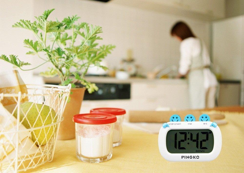 PINGKO Minuteur Num/érique de Cuisine Design Mode avec Gros Chiffres Sonnerie Puissante Rose