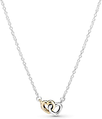 Amazon Com Pandora Jewelry Interlocked Hearts Collier Sterling Silver And 14k Yellow Gold Necklace 17 7 Jewelry