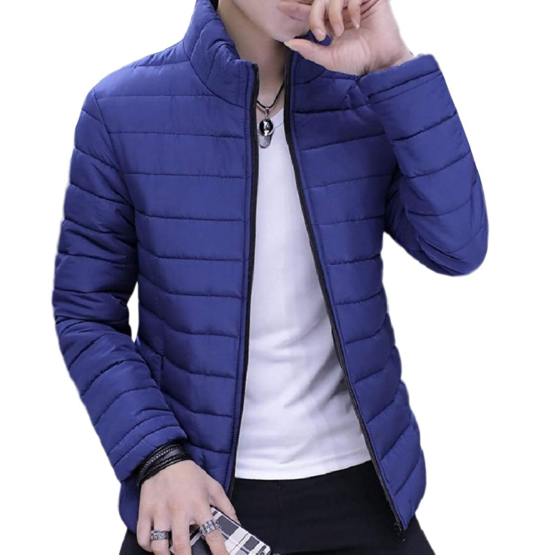 YUNY Men Slim Warm Padded Thickened Zip Puffer Short Parka Jackets Coat Blue 3XL