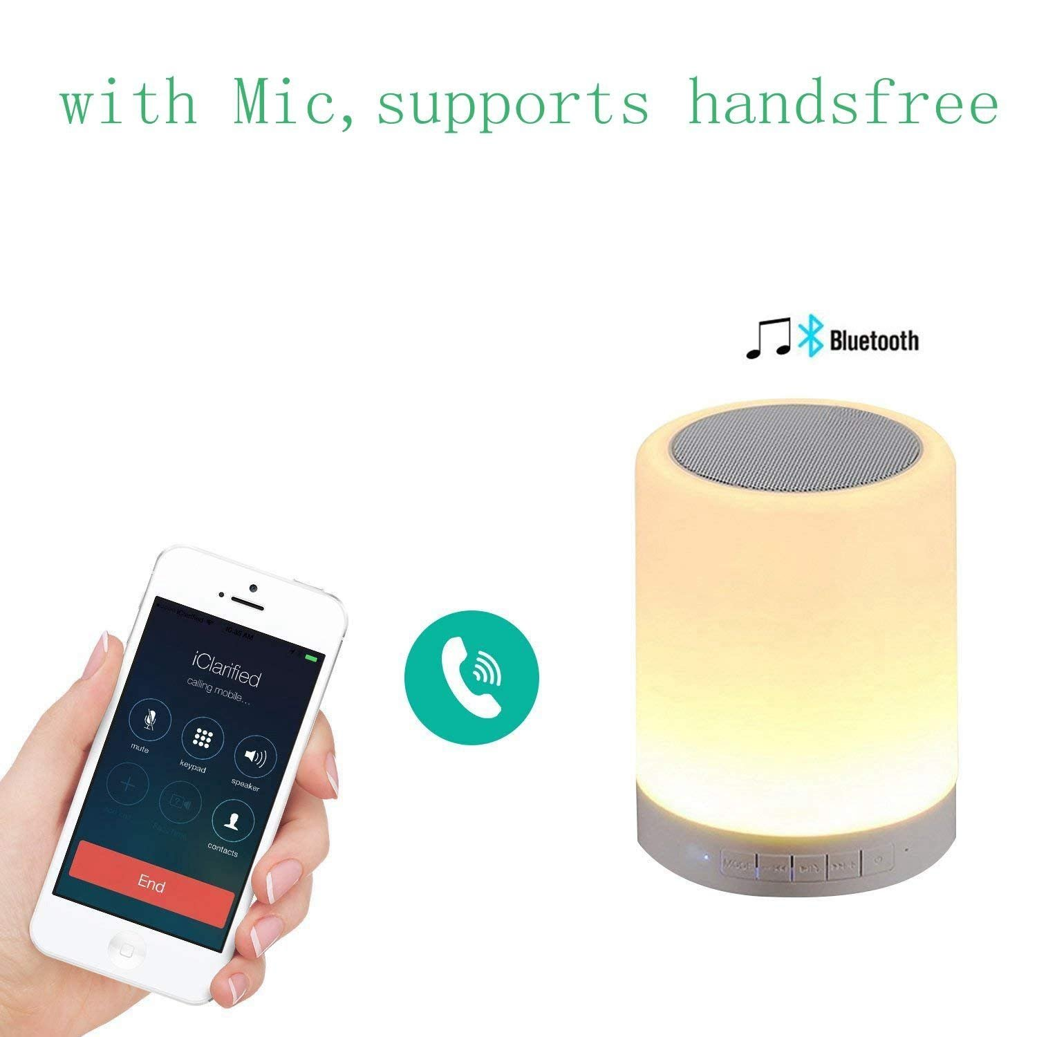 Night Light Bluetooth 4.2 Speakers, PRODELI Wireless Music Player Touch Control Color Changing Beside Table Lamp Support AUX, TF Card with Mic Handsfree【Multi-connection】【Left/Right/Stereo Channel】
