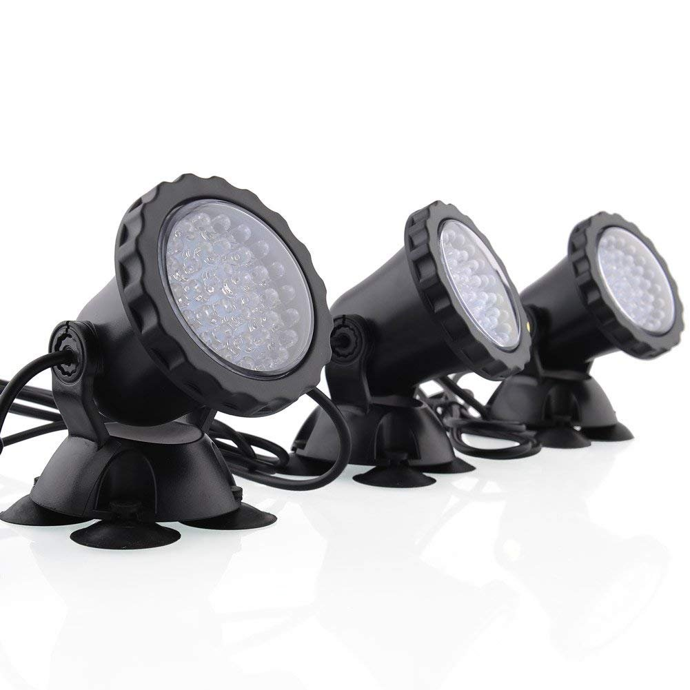 Deckey Waterproof 36 LED Submersible Spotlight Landscape Lamp for Aquarium Fish Tank, Garden Fountain, Pond Pool (3 Pack) by Deckey