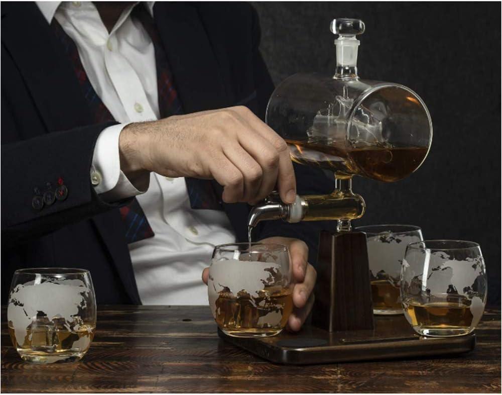 NBSXR Jarra de Whisky con Barco Antiguo, con 4 Vasos con mapamundi Grabado, dispensador de Bebidas para Brandy Tequila Ron escocés borbón, Regalos ...