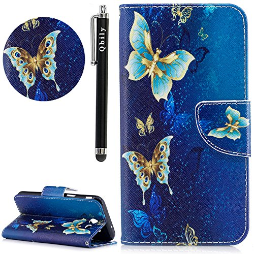 Galaxy J7 V Case, Galaxy J7 Prime Case, Galaxy J7 Perx Case, Galaxy J7 Sky Pro/Galaxy Halo Case,Qbily Butterfly Leather Flip Cover Stylus Cute Girls Wallet Phone Case for Samsung Galaxy J7 2017 Blue