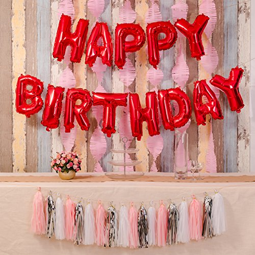 Happy Birthday Balloons,16 Inch Cute Colorful Foil Letter Balloons Banner for Birthday Party Supplies and Birthday Decorations (Red) -