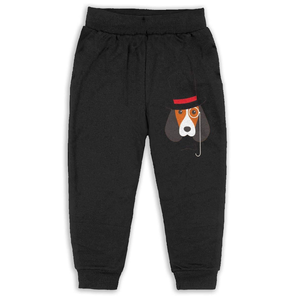 Rainbowhug Cap Gentleman Dog Unisex Children Sweatpants Boys Unique Soft Cozy Trousers for Kids