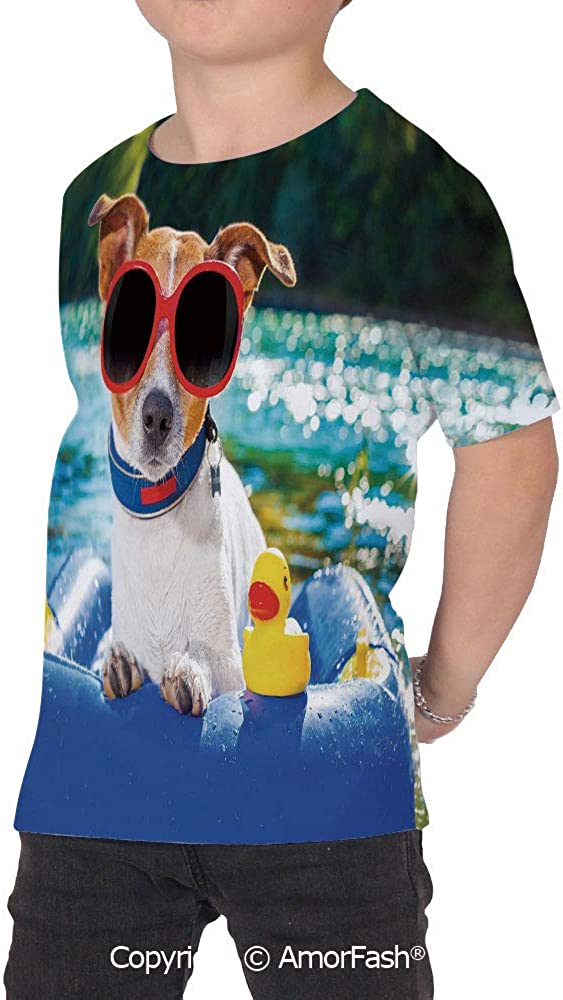 Funny Childrens Summer Casual T Shirt Dresses Short Sleeve,Jack Russell Dog wit