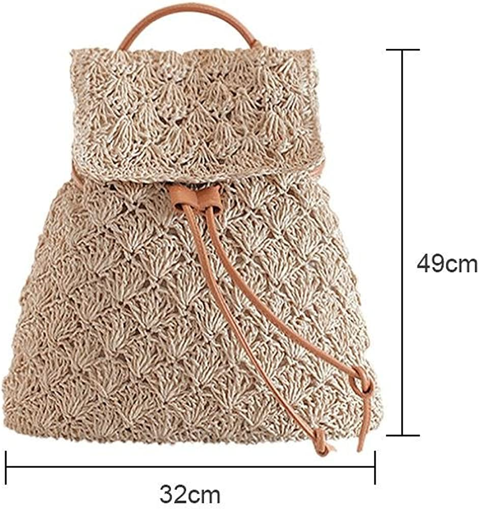 Diamondo Retro Women Hollow Straw Backpack Girl Drawstring Beach Travel Shoulder Bag
