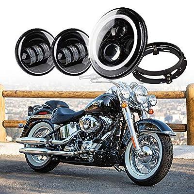 "Xprite 7"" Inch Round 60W 4800 Lumens Hi/Lo Beam Cree LED Headlights w/ Halo Ring Angel Eyes DRL 4.5"" Black Fog Light Passing White Lamps & 7"" Mounting Bracket For Harley Davidson Motorcycle"
