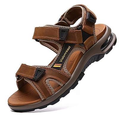 VISIONREAST Mens Leather Sandals Open Toe Outdoor Hiking Sandals Air Cushion Sport Sandals Waterproof Beach Sandals | Sandals